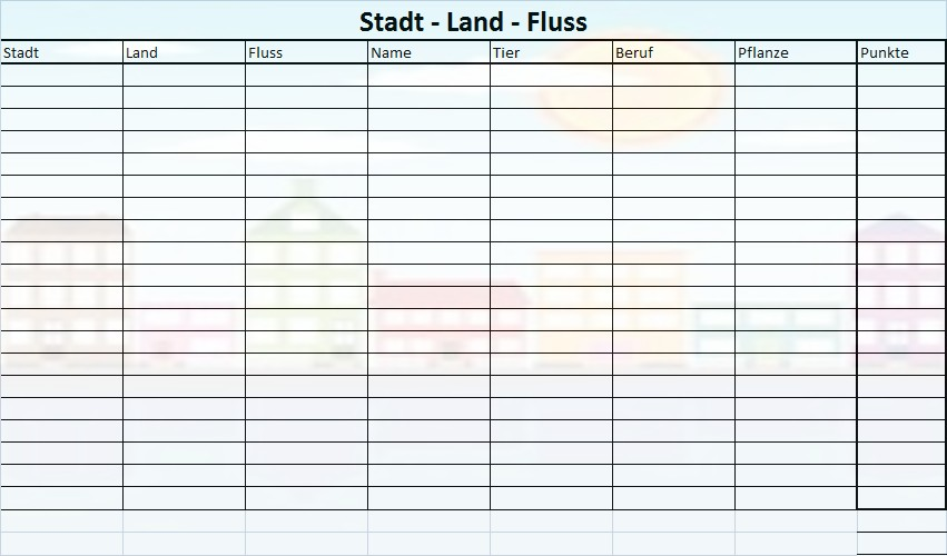 Name Stadt Land Fluss